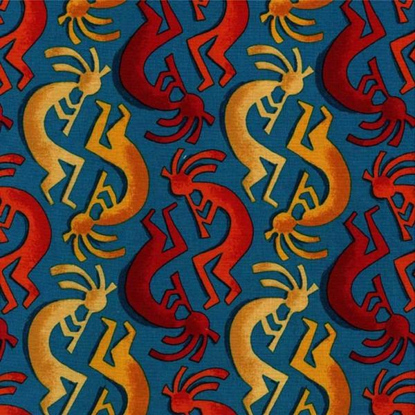 Michael Miller Painted Desert Kokopelli Stripe-Teal