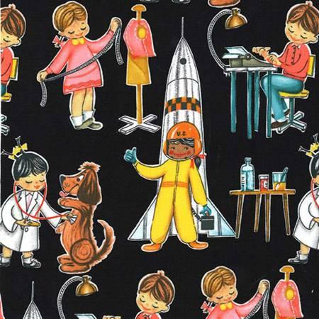 Girl Astronaut, Vet, Seamstress, and Typist on Black: You Go Girl by Michael Miller