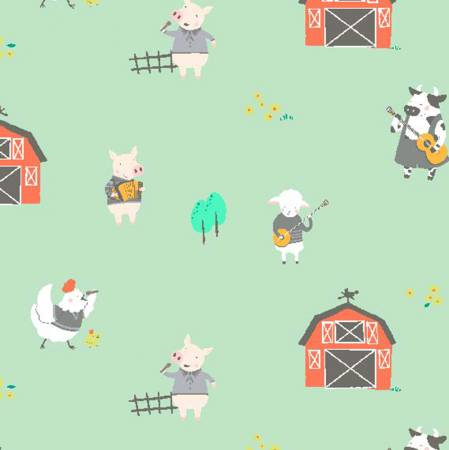 Farm Animals Playing Musical Instruments on Green:  Happy Hoedown Farm Animals - Stay Tuned by Michael Miller Fabrics
