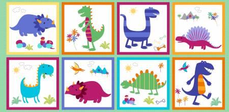 Multi Dino World Panel 24in repeat