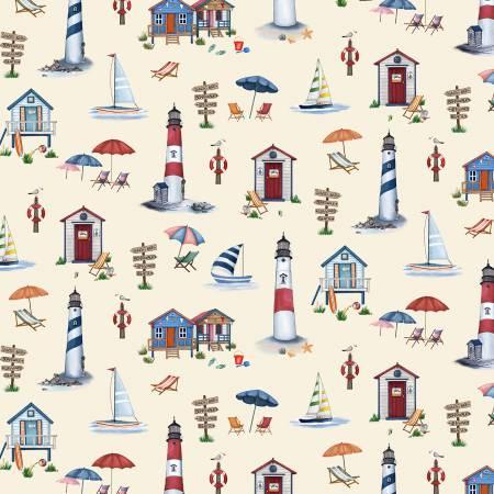 Cabana Time-Cream Lighthouses Cabanas