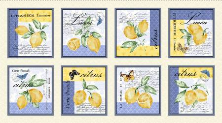 Citrus Sayings Lemon Placemat Panel - 4109 MU - 24in repeat