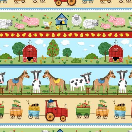 Down on the Farm - Out to Pasture Border Print - Green