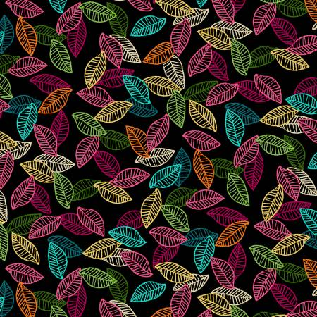 Black Vibrancy Leaf Print