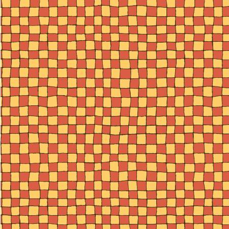 Vintage Treasures Orange Check Children's Fabric Yardage from 44 Inches Wide