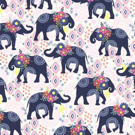 Bungalow Trunk Show Elephant 9501 Navy