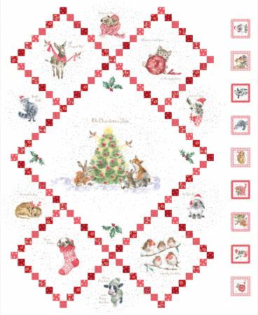 Warm Wishes Fabric Panel - Ultra White from Maywood Studio