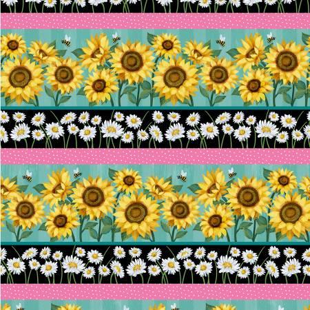 Michael Miller - Hello Sunshine-Border Print Stripe/Turq - DC10173-TURQ