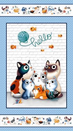 Blue Feline Friends Hello Panel DC8648-BLUE