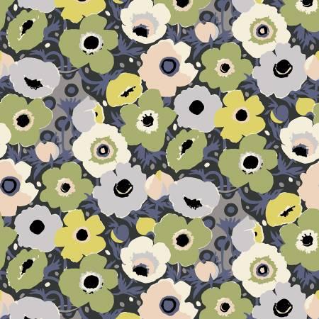 Wildflowers modern green flowers on blue