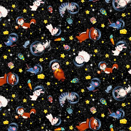 Hula Universe Black Multi Space Animals Michael Miller