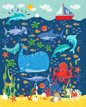 Under the Sea Blue Just Keep Swimming 36in Panel