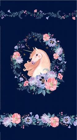 Michael Miller Mystical Meadow Unicorn Dreams Panel In Ink