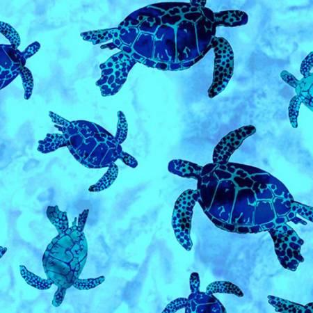 Digital Cuddle Print Batik Turtles Blue Ocean
