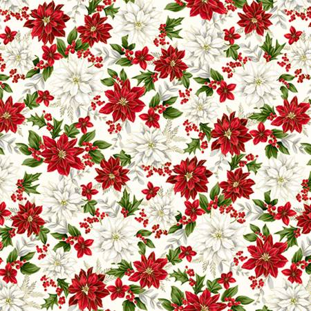 Holiday Red/White Poinsetta Digital Cuddle - Hoffman Print
