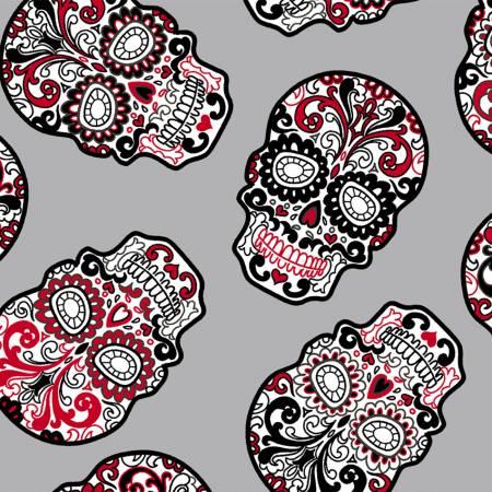 Digital Cuddle Print Sugar Skulls Steel