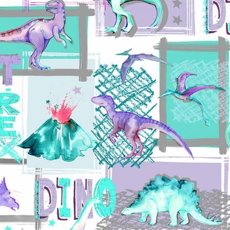 Shannon Fabrics Bellflower T-Rex Digital Cuddle DCT-REX BELLFLOWER