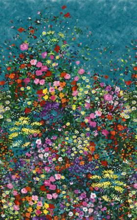 Teal Garden 100% Cotton 42-44 Wide