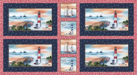 Navy Lighthouse Placemats 24in repeat