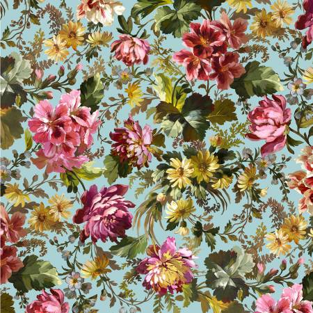 Victoria's Garden Blue Splendid Bouquet Digitally Print