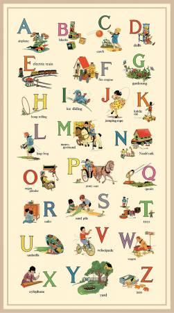 Vintage Treasures Multi Vintage Alphabet List Digital Panel 24 x 44 Inches