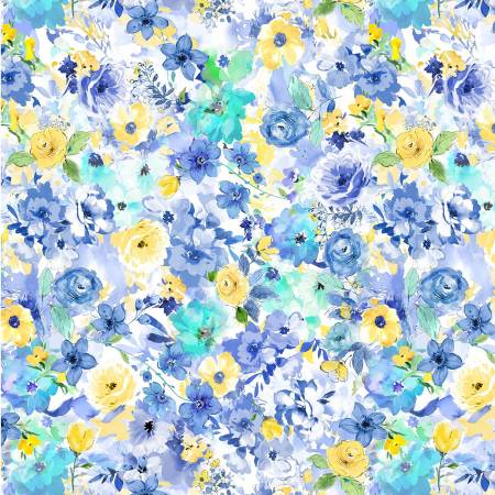 Blue Muse Floral on White
