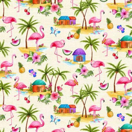 Greetings From Pink Flamingos Beige
