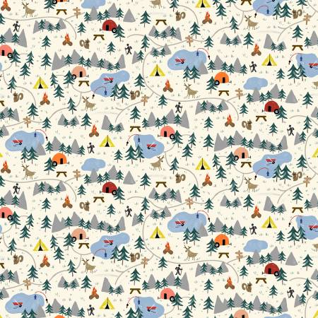 Cream Parks & Recreation - Camping Life by Michael Miller