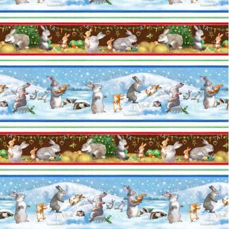 Grandma's Xmas Wish DDC9590 Multi Winter Fun Stripe