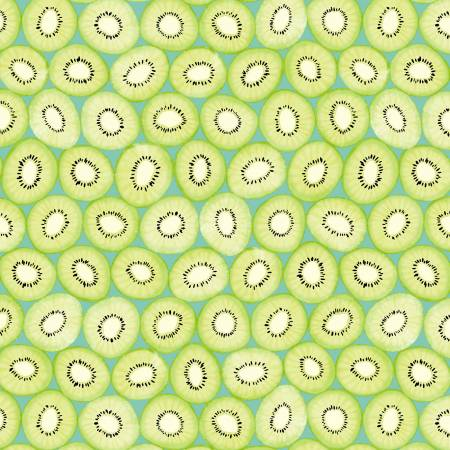 Breakfast in Bed Kiwi Slices on Teal Fabric by the yard