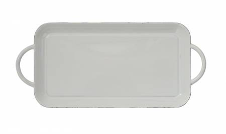Enameled Tray With Handles Cream 10-1/4in x 4-1/2in