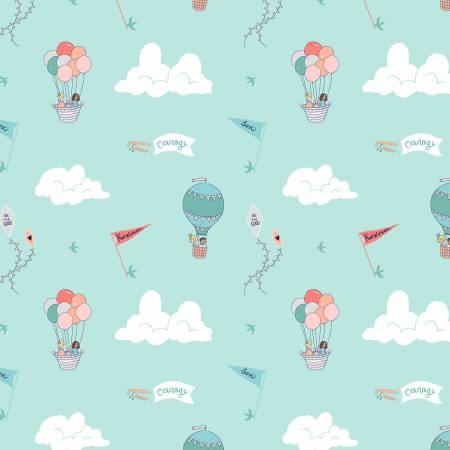 Courage & Kindness Aqua Fabric by Michael Miller Fabrics
