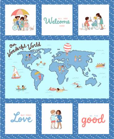 Blue Wonderful World Panel 36in