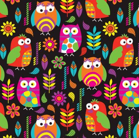 Black/Multi Bright Owls Heavenly Plush