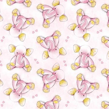 Pink Baby Elephants Flannel