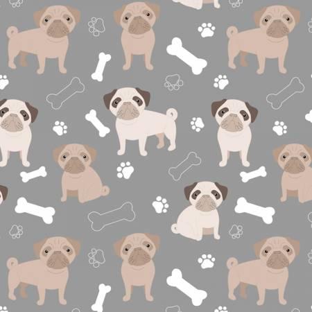 David Textiles - Oh My Pug Blizzard Fleece - Grey/Tan