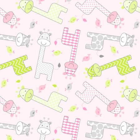 Pink Baby Giraffe Flannel