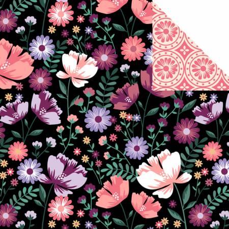 Black/Purple Double Faced Quilts, Garden Bloom/Medallion