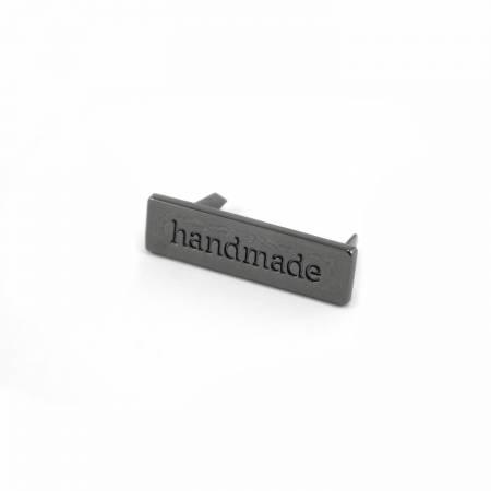 Metal Bag Label Handmade In Gunmetal