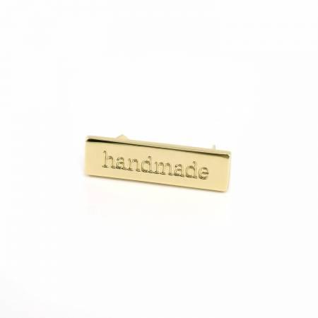 Metal Bag Label Handmade In Gold