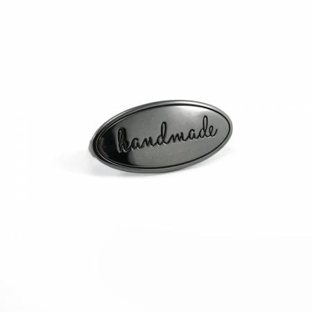 Metal Bag Label Oval Handmade In Gunmetal