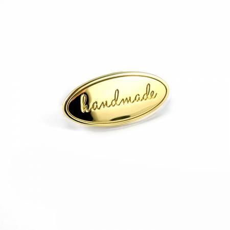 Metal Bag Label Oval Handmade In Gold