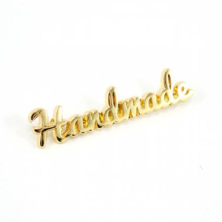 Metal Bag Label - Script Handmade in Gold