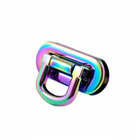 Oval Flip Lock Iridiscent Rainbow