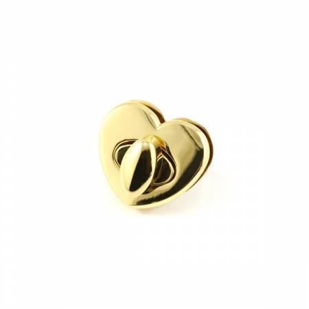 Heart Shaped Bag Lock Gold