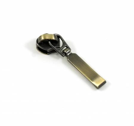 #3 Emmaline Rectangular Zipper Slide 10pk Antique Brass
