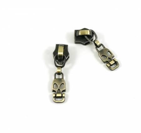 #5 Emmaline Skull Pull 10pk Antique Brass
