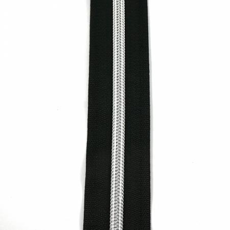 #5 Emmaline Zippers-by-the-Yard 10yds Black Silver Teeth