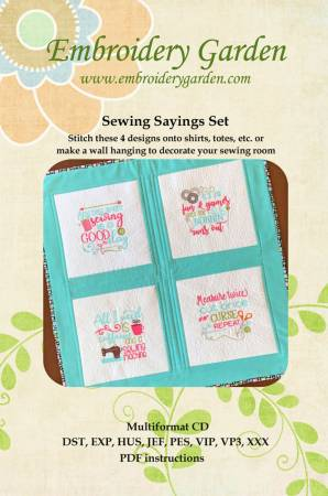 Embroidery Garden Sewing Sayings Set