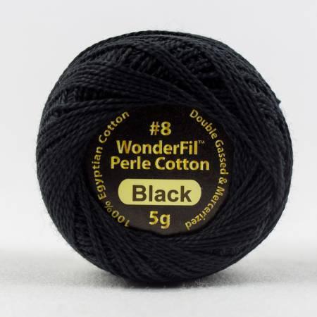 Eleganza 8wt 5-Gram Solid Perle Cotton Ball 42yd Black
